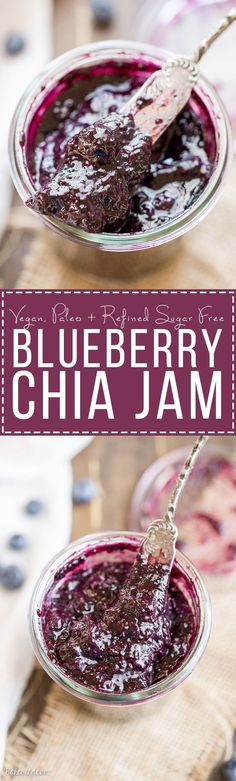 This Blueberry Chia Jam is a healthier homemade jam, made in just 20 minutes! This Paleo + refined sugar free jam is sweetened with maple syrup and naturally thickened with chia seeds.