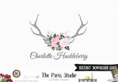DIY Instant Download Logo Watercolor Antler Floral Logo