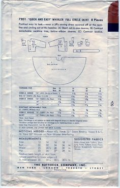 FREE SHIPPING Vintage 1950s Butterick 7201 Sewing Pattern
