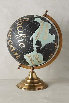 Gold foil writing pretty globe