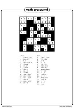 Create A Math Crossword Puzzle And Download The Free Worksheets This Is A Great Way For Kids To Practice Addition Math Worksheets Worksheets Math