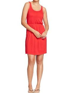 Womens Tipped Jersey Tank Dresses