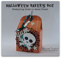 by Nicole: Howl-o-ween Treat, Happy Haunting dsp, Baker's Box Thinlits set, Boo To You framelits, Spider Web Doilies - all from Stampin' Up!