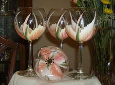 Hand painted coral wine glasses by simplethingsbykathy on Etsy, $33.00