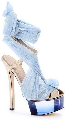 Fendi tie-up blue high heels Blue Heels, High Heels, Blue Sandals, Heeled Sandals, Platform Stilettos, Cute Shoes, Me Too Shoes, Fendi, Shoe Boots
