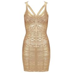 Bags and Heels Golden Glory Bandage Dress