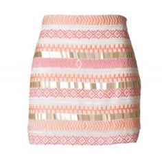 White Mini Skirt w/ Multicolor Geometric Embellishment ($50) ❤ liked on Polyvore featuring skirts, mini skirts, bottoms, faldas, saias, colorful skirts, embellished skirt, short mini skirts, patterned mini skirt and multi color skirt