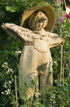 Lindinho o espantalho que reaproveita vários materiais...e ainda enfeita o jardim :)