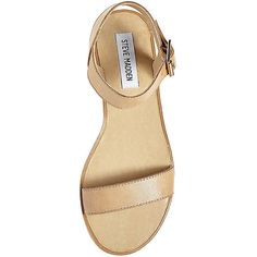 Steve Madden Women's Mille Sandals ($42) ❤ liked on Polyvore featuring shoes, sandals, tan leather, wide sandals, leather sandals, wide ankle strap sandals, tan leather shoes and wide fit sandals