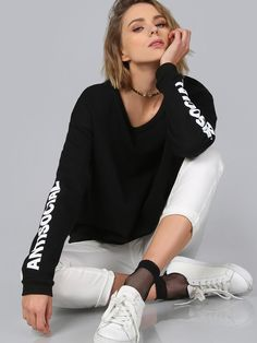 Online shopping for Anti Social Pullover BLACK from a great selection of women's fashion clothing & more at MakeMeChic.COM.