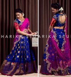 Dress for kids indian wedding 31 ideas Half Saree Lehenga, Saree Gown, Lehnga Dress, Bridal Lehenga, Silk Lehenga, Half Saree Designs, Bridal Blouse Designs, Saree Blouse Designs, Dress Designs
