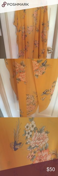 #Long #Sheer #Kimono #Floral NEW 🌸 one size-2X #Long #Sheer #Kimono #Yellow #Blush #Floral NEW 🌸.  NWOT One Size- fits up to 2X. One of a kind piece with gorgeous details. So rare, unique. Longer kimono w slits at aides- would hit down to about knee level. Tiny bodycon underneath and super cute! Price Firm💐 Tops