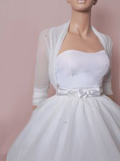 Bridal  White tulle  bolero /jacket /    3/4 by UpToDateFashion, $39.99  I really like this one. It would probably be enough just to keep the chill off the spring night!