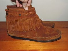 Minnetonka Womens 9 Brown Suede Leather Moccasins Boots Very Good Vintage Condition by VintyThreads on Etsy