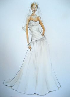 Forever Your Dress - custom wedding gown illustration   such an awesome gift idea!  @Etsy @Linda Lloyd