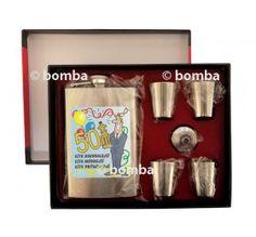 Nerezová ploskačka so štamprlíkmi k 50 50th, Lunch Box, Drinks, Pump, Bento Box, Drink, Beverage, Drinking