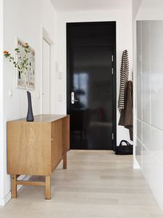 foyer entryway entry hall entrance black glossy lacquer front door modern decor interior design apartment house