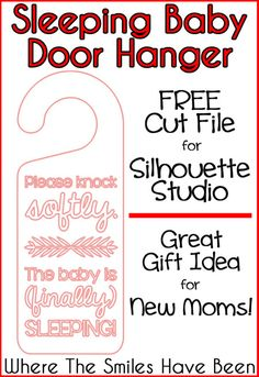 FREE cut file to create a Sleeping Baby Door Hanger!  And you can make this out of a *cereal box*!  Hooray for free craft supplies!