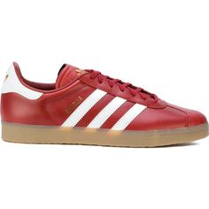 Adidas Gazelle sneakers ($120) ❤ liked on Polyvore featuring men's fashion, men's shoes, men's sneakers, red, mens flat shoes, mens red shoes, mens leather lace up shoes, mens leather shoes and mens lace up shoes