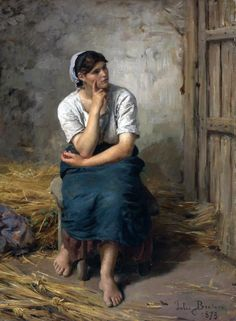 Jules Breton (French Realist painter) 1827 - 1906, Paysanne au Repos (Peasant Girl Resting), 1873, oil on canvas, 32 x 23 1/4 in. (81.2 x 59 cm.), signed Jules Breton and dated 1873 (lower right), private collection