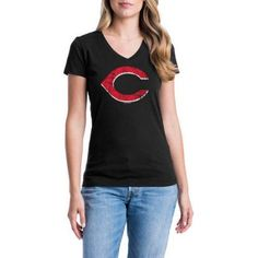 Cincinnati Reds Womens Short Sleeve Graphic Tee, Women's, Size: Medium, Black