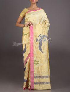 Manisha Cream And Gold Peacock Motif #UppadaWeddingSilkSaree