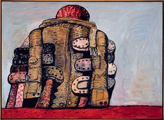 """Avec ses œuvres lyriques des années 1950-1960, Philip Guston (1913-1980) est une figure de l'expressionnisme abstrait, avant un brusque retour à la figuration qui fait scandale : il crée alors des peintures proches de la culture populaire, notamment de la BD, peuplées d'objets, livres, chaussures, briques. Les deux périodes sont représentées dans l'exposition. Ici, """"Back View"""", 1977 (San Francisco Museum of Art, don de l'artiste)"""