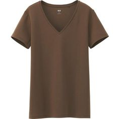 UNIQLO Women Supima Cotton V Neck Short Sleeve T-Shirt ($5.90) ❤ liked on Polyvore featuring tops, t-shirts, brown v neck t shirt, uniqlo t shirts, v neck t shirts, short sleeve v neck t shirt and v neck tee