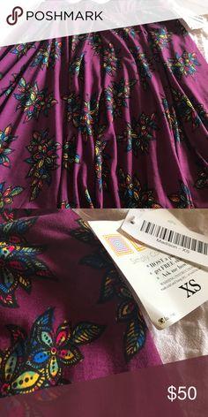 BNWT LLR Lularoe Madison Skirt BNWT XS purple floral Madison skirt. Llr. Lularoe. LuLaRoe Skirts Midi