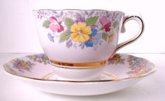 Vintage Pink Colclough China Tea Cup and Saucer Made by oldandnew8, $15.00