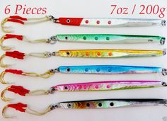 Speed Jigs 6 Pieces 7oz /200g Knife Vertical Butterfly Lures -Choose Colors #New