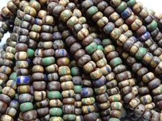 3/0 Aged Striped Seed Bead Mix 3 Strands Hank by BeadsParade