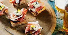 "Pintxos, pronounced pinchoss, are traditional bar snacks in the Basque Country in Northern Spain. The name comes from ""to pierce"" because they're often served on small skewers on the bar - you help yourself and count the skewers to calculate the bill. Kickstart the party with this easy and delicious"
