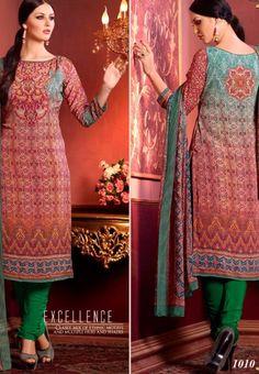 #Vaishali Digital Delight Print #Crepe #SalwarKameez Suit 1010 #Green #Red