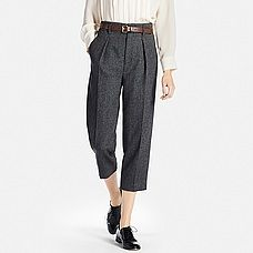 Uniqlo Wool Blend Wide Leg Tapered Ankle Trousers