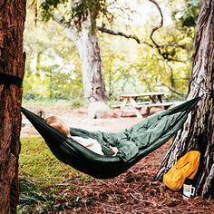 A sleeping bag that doubles as a hammock