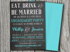 Eat Drink Be Married Engagement Party Invitation - Turquoise Aqua Blue Download Chalkboard Wedding Shower Template | DIY Wedding Invitation by PainttheDayEvents on Etsy, $10.00