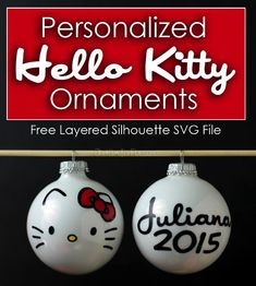 Create darling personalized Hello Kitty face ornaments out of white glass christmas balls and this free SVG file.  An easy vinyl project for you Silhouette machine!