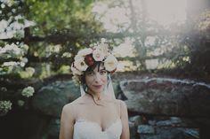 Bride bridal portrait. Rose flower crown. Dress: Pnina Tornai . Catskill Mountain Vegan Bohemian Wedding. Brooklyn Wedding Photographer Chellise Michael Photography. Venue: Cedar Lakes Estate, Port Jervis, Catskills, NY.