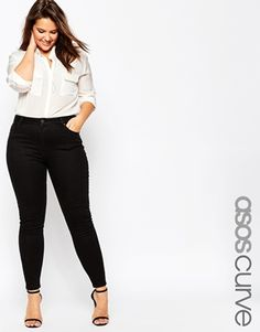 ASOS CURVE Lisbon Mid Rise Ankle Grazer Jean In Clean Black