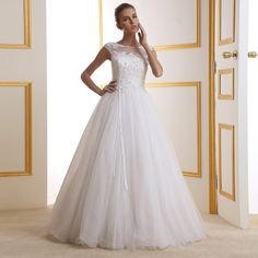 2014 Women Ladies Elegant White Flowers Sexy Hollow Out Lace Wedding Dress Customization $185.99