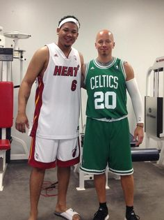 With their favorite teams facing each other in the current NBA playoffs, Felix and coach Allen Wirtala worked out in full uniform today. #Mariners #Heat #Celtics