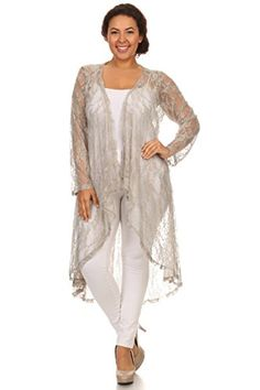 Hadari Women s Plus Size High Low Lace Cardigan 96aef5e6c3d4