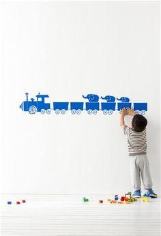 Sticker mural - tiny train bleu