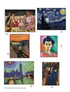 Journey through art history with 62 beautiful cards, color-coded by art movement. Every card comes with information about the artist, time period, art work, and interesting fact on the