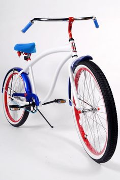 Men's White Deluxe Limited Edition Custom Beach Cruiser Bicycle by Villy… Red White Blue, Cobalt Blue, Custom Beach Cruiser, Custom Seat Covers, Red Mustang, Paint Bike, Cruiser Bicycle, Cool Bicycles, School Spirit