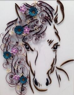 Horse and Flowers Quilling