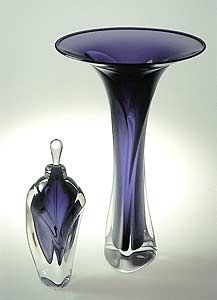 vase and perfume bottle crafted from transparent dark violet glass and coated in a layer of clear glass. Sold separately.