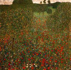 Poppy Field, huile sur toile de Gustav Klimt (1862-1918, Austria)