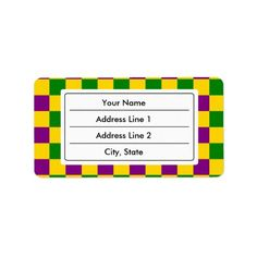 Mardi gras checkered pattern personalized address labels